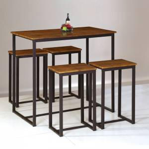 Set Bar Τραπέζι + 4 Σκαμπώ Μέταλλο Βαφή Σκούρο Καφέ - Καρυδί