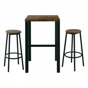 Set Bar Τραπέζι + 2 Σκαμπώ Μέταλλο Βαφή Ανθρακί / Antique Brown