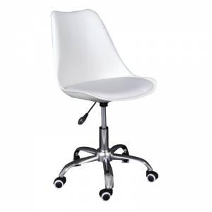 Καρέκλα Γραφείου Χρώμιο - PP Άσπρο / Κάθισμα: Pu Άσπρο Μονταρισμένη Ταπετσαρία Συσκ.2