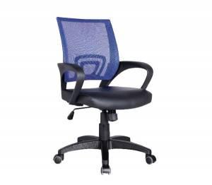 Πολυθρόνα (με ανάκλιση) Μπλε Mesh/Μαύρο Pu