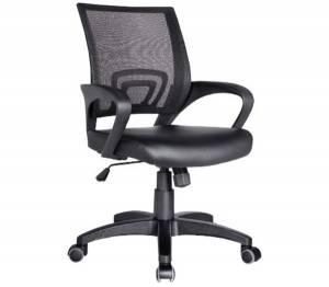 Πολυθρόνα Γραφείου με Ανάκλιση Μαύρο Mesh - PU