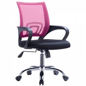 Χρώμιο (με ανάκλιση) Πολυθρόνα Ροζ/Μαύρο Mesh (Συσκ.1)