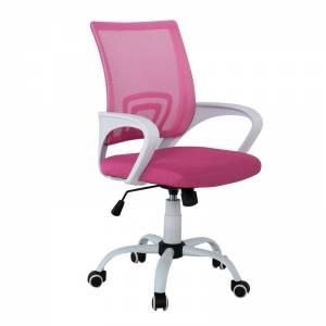 Πολυθρόνα με ανάκλιση Άσπρη/Ροζ Mesh
