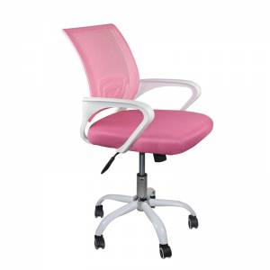 Πολυθρόνα Γραφείου με ανάκλιση Άσπρο / Mesh Ροζ (Συσκ.2)