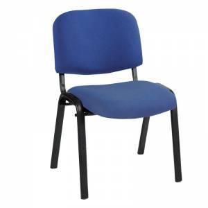 Καρέκλα Στοιβαζόμενη Γραφείου - Επισκέπτη Μέταλλο Βαφή Μαύρο - Ύφασμα Μπλε
