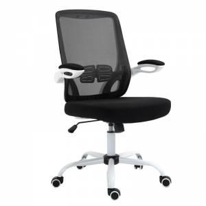 Πολυθρόνα Γραφείου Άσπρο, Βάση Μέταλλο - Μπράτσα Ανακλινόμενα,Mesh-Ύφασμα Μαύρο