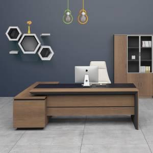 Γραφείο -Δεξ-180x160cm Σκ.Καρυδί/Μαύρο