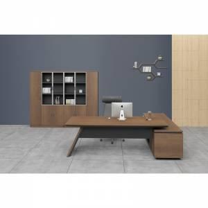 Γραφείο -Αρ-200x200cm Σκ.Καρυδί/Μαύρο