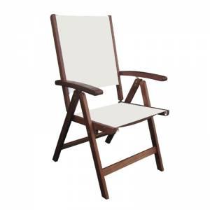 Πολυθρόνα 5-Θέσεων Ξύλο Acacia - Textilene Άσπρο