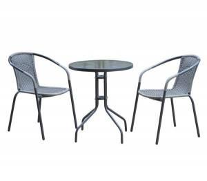 Set Κήπου - Βεράντας : Τραπέζι + 2 Πολυθρόνες Μέταλλο Γκρι - Wicker Mixed Grey