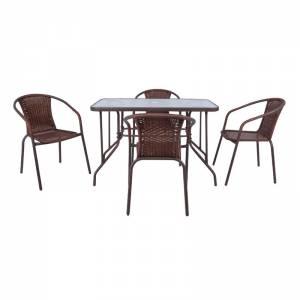 Set Τραπεζαρία Κήπου : Τραπέζι + 4 Πολυθρόνες Μέταλλο Καφέ - Wicker Brown