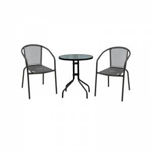 Set (Τραπ.Φ60cm+2 Πολ) Μεταλ.Μαύρο/Textilene Γκρι