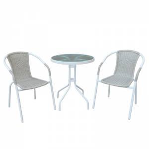 Set (Τραπ.Φ60cm+2 Πολ) Μεταλ.Άσπρο/Beige Wicker