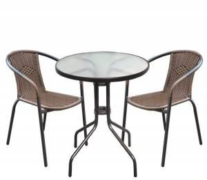 Set Κήπου - Βεράντας : Τραπέζι + 2 Πολυθρόνες Μέταλλο Καφέ - Wicker Brown