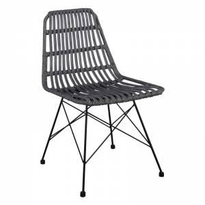 Καρέκλα Κήπου Βεράντας Μέταλλο Βαφή Μαύρο - Wicker Γκρι