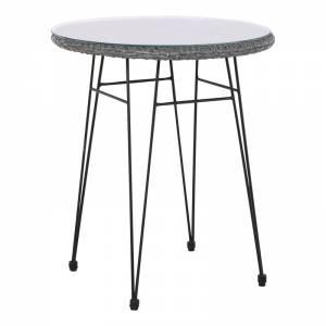 Τραπέζι Φ60cm/H70cm Μεταλ.Μαύρο/Wicker Γκρι