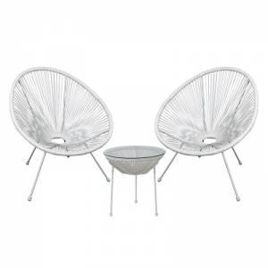 Set Κήπου - Βεράντας: Τραπέζι + 2 Πολυθρόνες Μέταλλο Άσπρο/Rattan Άσπρο