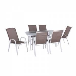 Set Τραπεζαρία Κήπου Steel Άσπρο-Γυαλί-Textilene Cappucci no: Τραπέζι +6 Πολυθρόνες