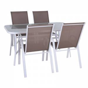 Set (Τρ.120x70cm+4 Πολ) Μετ.Άσπρο/Text.Cappuccino/Γυαλί Pear Clear