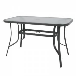 Τραπέζι 140x80cm Μεταλλικό Ανθρακί/Γυαλί Pear Clear