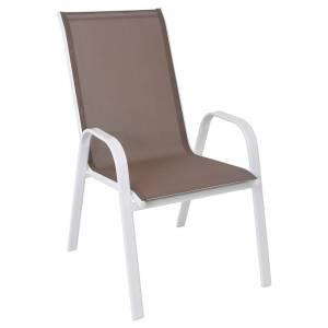 Πολυθρόνα Μεταλλική Άσπρη/Textilene Cappuccino