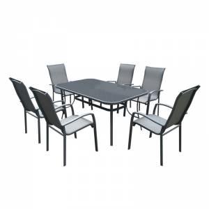 Set Τραπεζαρία Κήπου : Steel-Textilene Ανθρακί/ Γυαλί :Τραπέζι 160x96 + 6 Πολυθρόνες
