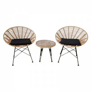 Coral Coffee Set Κήπου Μέταλλο Μαύρο - Γυαλί - Wicker Φυσικό: Τραπεζάκι+2 Πολυθρόνες