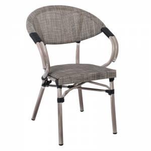 Πολυθ.Alu Antique Grey/Textilene Μπεζ