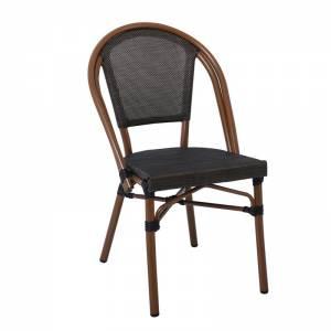 Καρέκλα Dining Αλουμινίου Απόχρωση Καρυδί Textilene Μαύρο