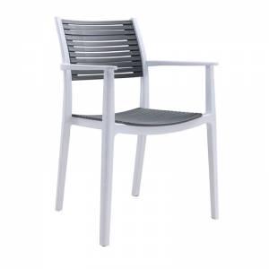 Πολυθρόνα PP-UV Άσπρο/Γκρι