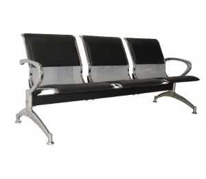 Κάθισμα Υποδοχής 3-Θ Μαύρο PVC (Σκελ.Χρώμιο)