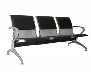 Κάθισμα Αναμονής - Υποδοχής 3-θέσεων Χρώμιο / PVC Μαύρο