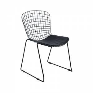 Καρέκλα Μεταλ.Mesh Μαύρη στοιβαζόμενη Μαξ.Μαύρο Pu