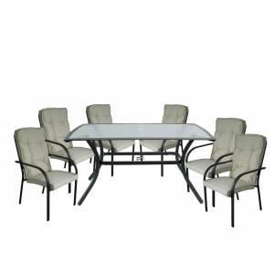 Set Τραπεζαρία Κήπου : Τραπέζι + 6 Πολυθρόνες Steel Ανθρακί- Γυαλί - Μαξιλάρι Μπεζ