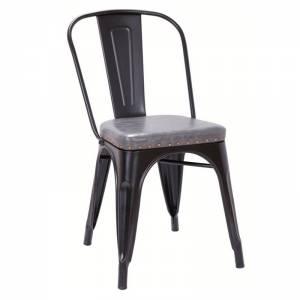 Καρέκλα Μεταλ.Μαύρη Matte/Pu Κάθ.Σκ.Γκρι