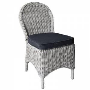 Καρέκ.ALU/Wicker Grey White Μαξιλ.Ανθρακί