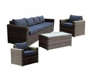 Set Σαλόνι Κήπου : 4Θέσιος +2 Πολυθρόνες +Τραπέζι Wicker Grey Brown- Μαξ.Ανθρακί