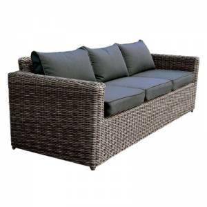 3Θέσιος Καναπές 4mm HalfRound Wicker Grey Brown