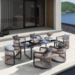 Dining Set Τραπεζαρία Κήπου Βεράντας: Τραπέζι + 6 Πολυθρόνες Alu Ανθρακί - Μπεζ