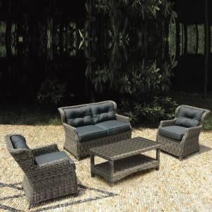 Set Σαλόνι Καθιστικό Κήπου Τραπεζάκι + 2 Πολυθρόνες + 2Θέσιο Alu-Wicker Grey Brown