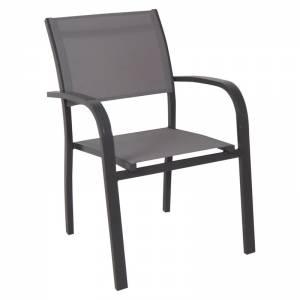 Πολυθρόνα Alu Ανθρακί/Textilene Γκρι