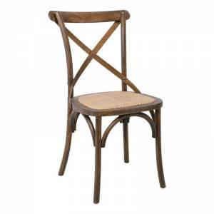Καρέκλα Τραπεζαρίας Οξυά Καρυδί - Κάθισμα Ψάθα