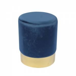 Σκαμπώ Βοηθητικό Χρώμιο Χρυσό - Ύφασμα Μπλε Velure