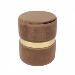 Σκαμπώ Βοηθητικό Μέταλλο Βαφή Χρυσό / Ύφασμα Καφέ Velure
