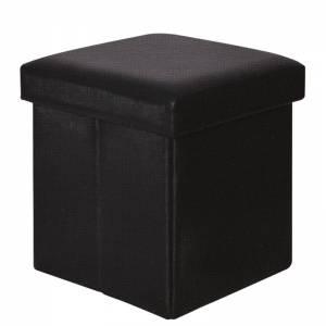 Αποθ/κό Σκαμπώ PU Μαύρο 38x38x38cm
