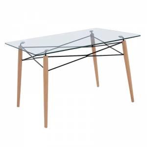 Τραπέζι 120x80cm Ξύλο/Γυαλί 10mm