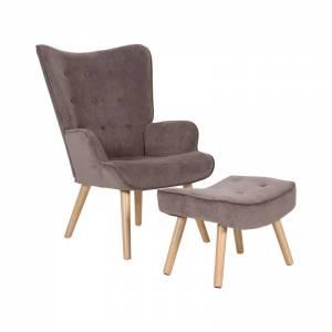 Set Πολυθρόνα & Σκαμπώ, Ύφ.Καφέ Velure (K/D)