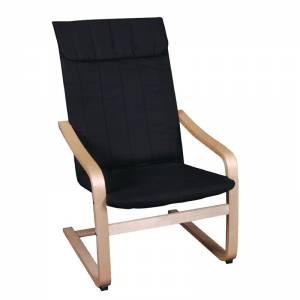 Πολυθρόνα Σημύδα/Ύφασμα Μαύρο