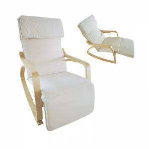 HAMILTON Super Relax Πολυθρόνα Σημύδα/Ύφασμα Άσπρο