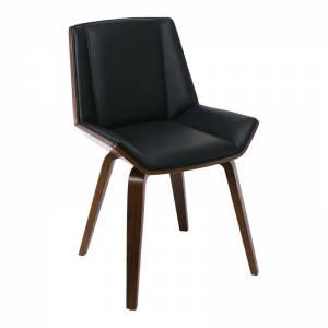 Καρέκλα Tραπεζαρίας Καρυδί / PU Μαύρο